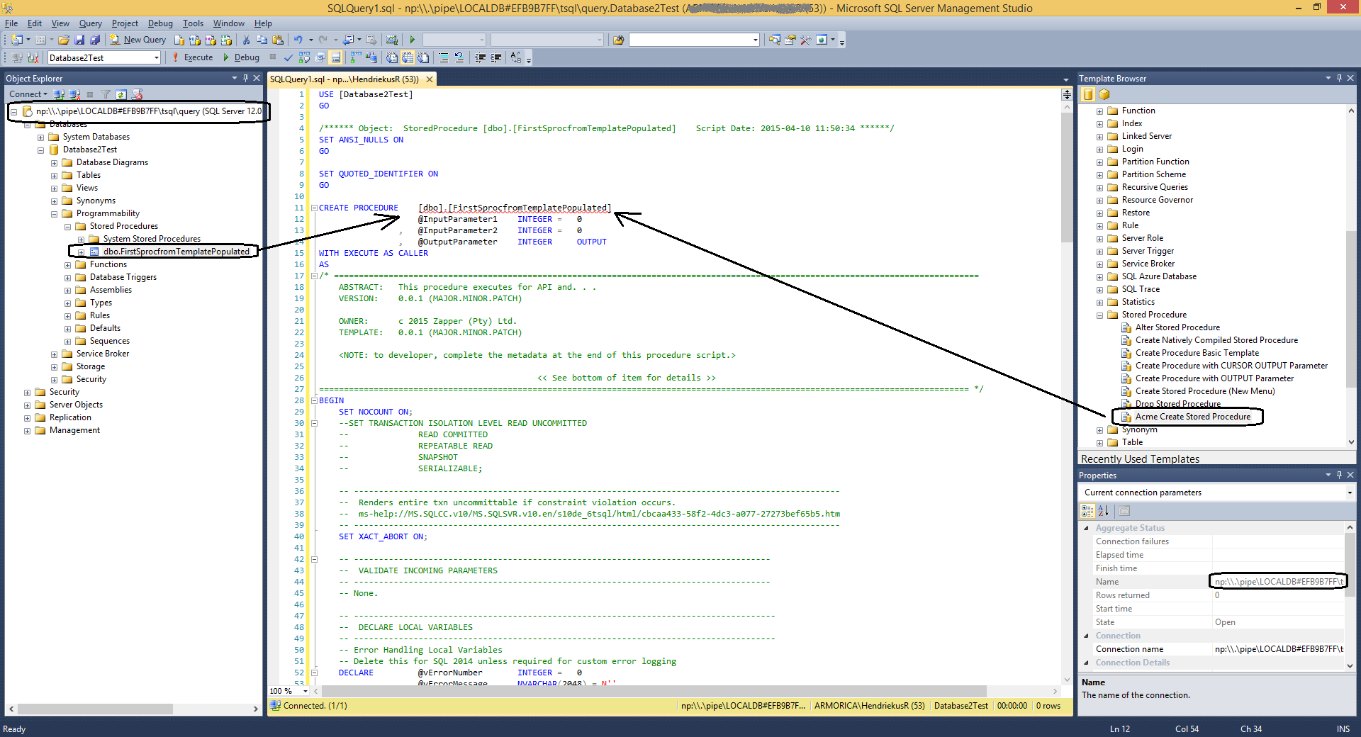 visual studio 2015 connect application to local database