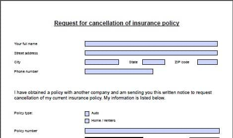 application to close insurance policy