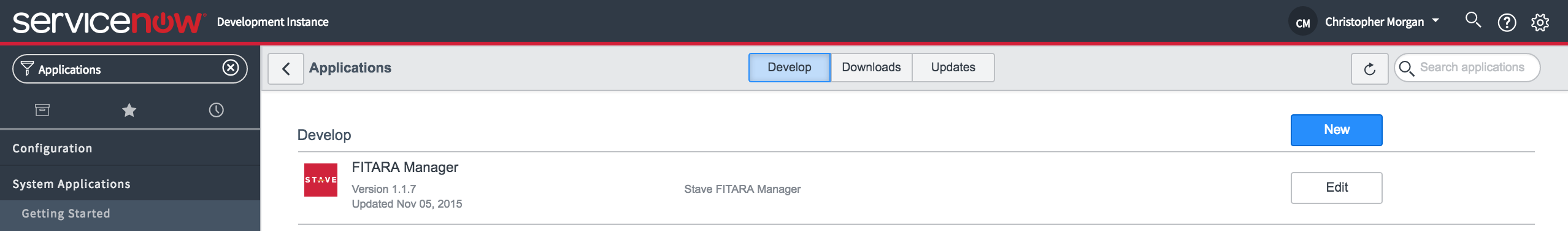 servicenow create new scoped application