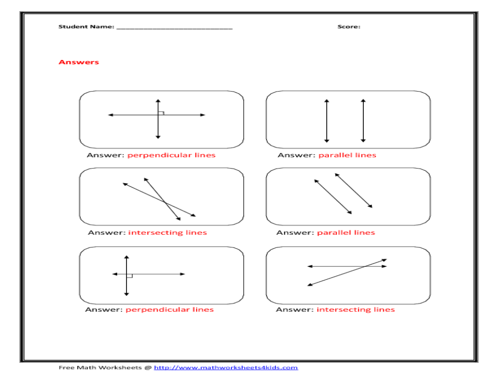 applications of parallel and perpendicular lines worksheet